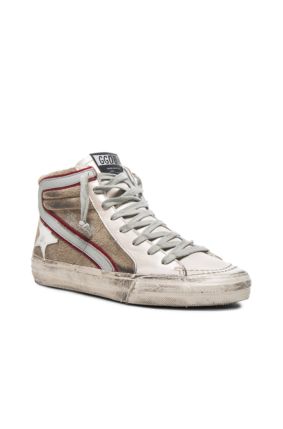 Image 2 of Golden Goose Leather Slide Sneakers in Beige & Silver