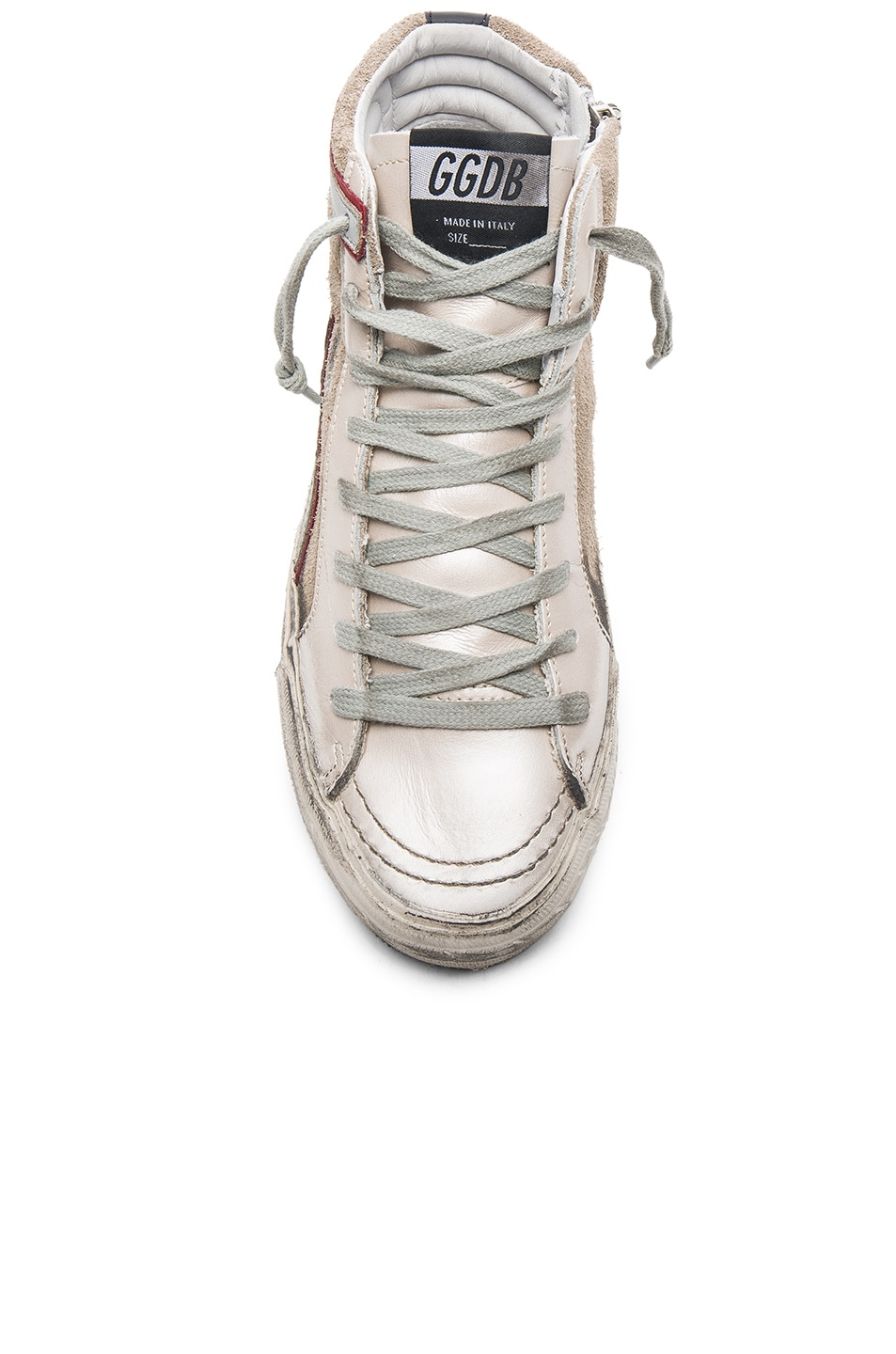 Image 4 of Golden Goose Leather Slide Sneakers in Beige & Silver