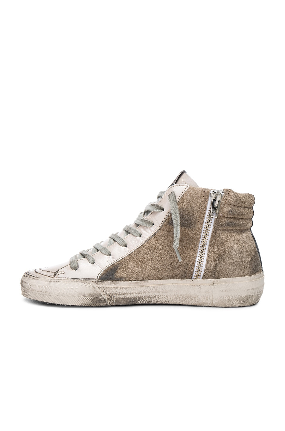 Image 5 of Golden Goose Leather Slide Sneakers in Beige & Silver