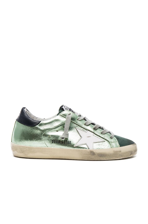 de69725c34 Golden Goose Leather Superstar Low in Green Lame | FWRD