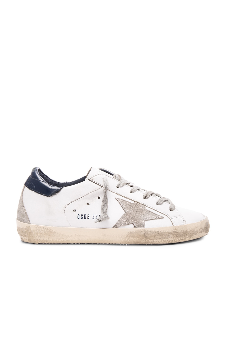 Image 1 of Golden Goose Leather Superstar Low Sneakers in White & Blue