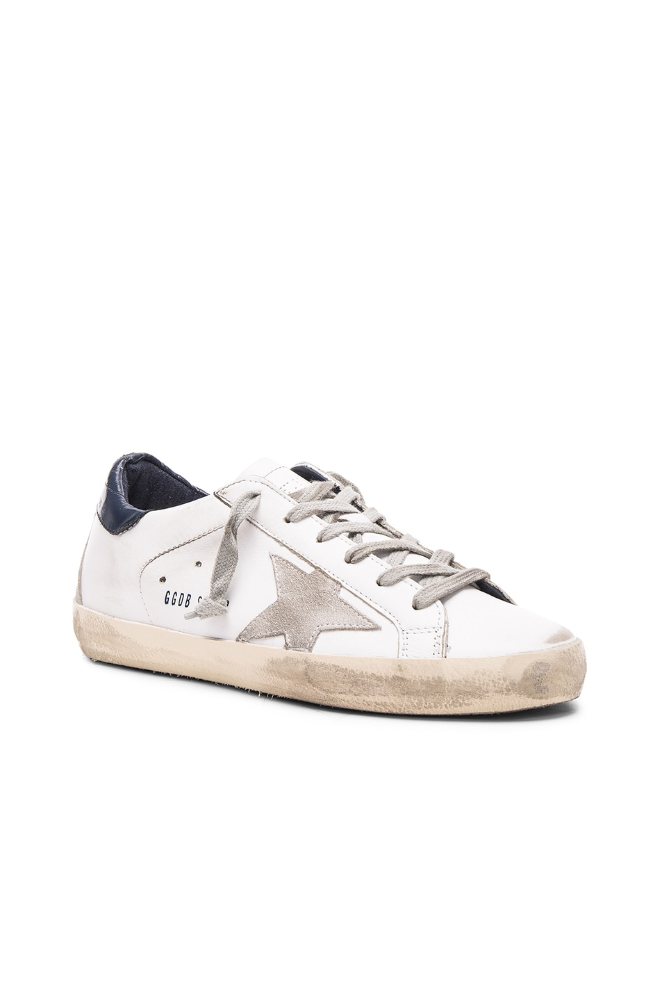 Image 2 of Golden Goose Leather Superstar Low Sneakers in White & Blue