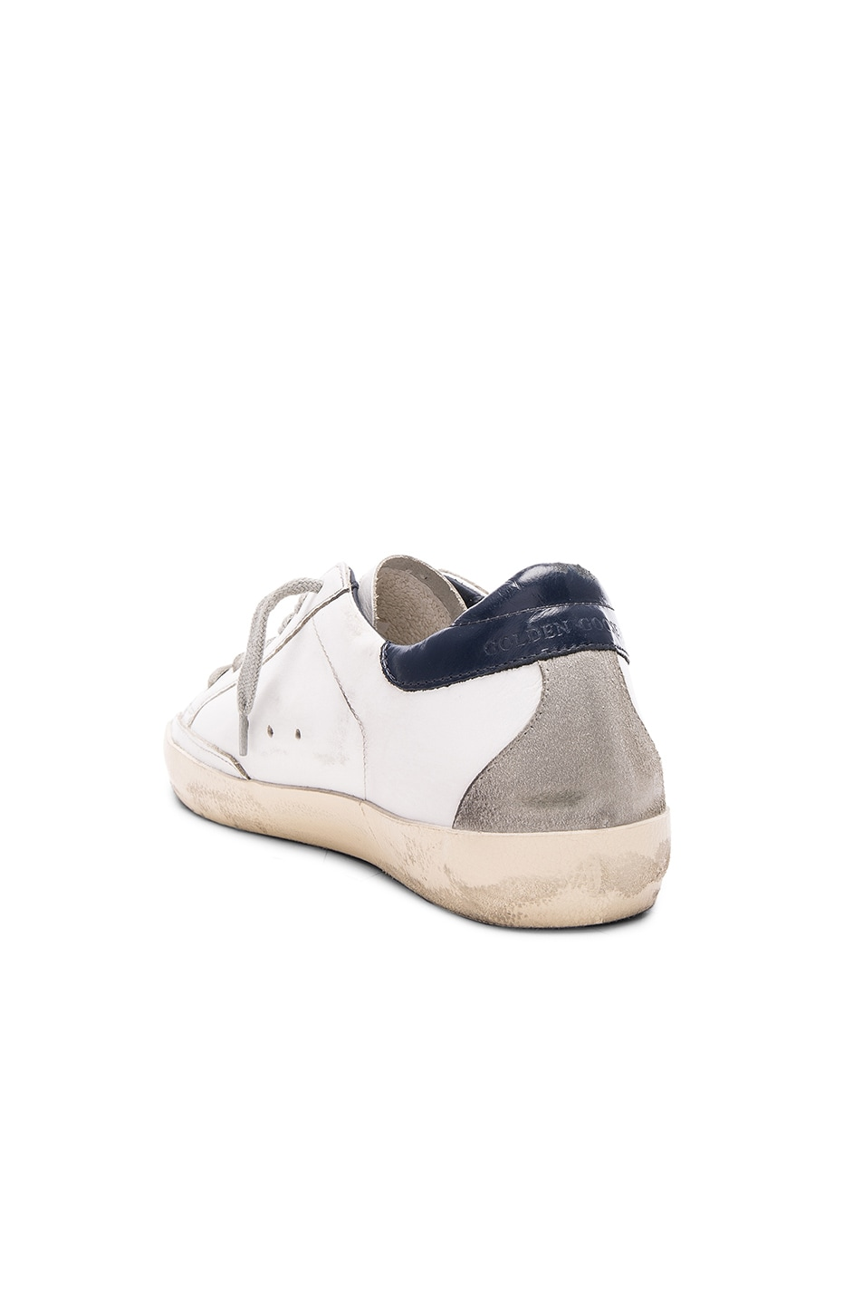 Image 3 of Golden Goose Leather Superstar Low Sneakers in White & Blue