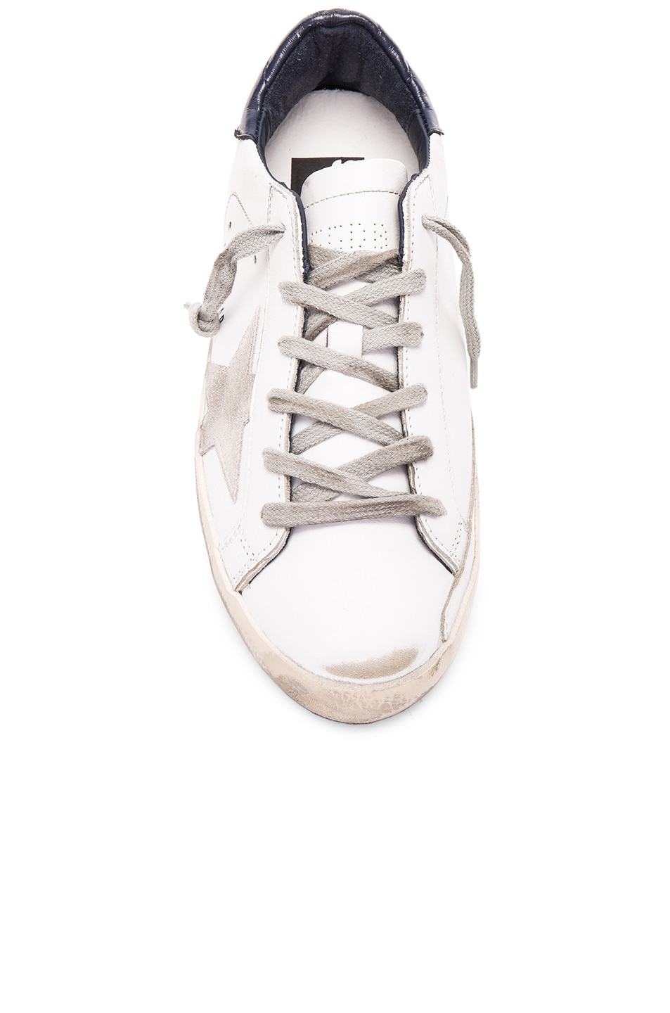 Image 4 of Golden Goose Leather Superstar Low Sneakers in White & Blue
