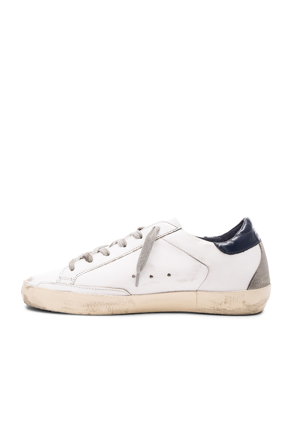 Image 5 of Golden Goose Leather Superstar Low Sneakers in White & Blue