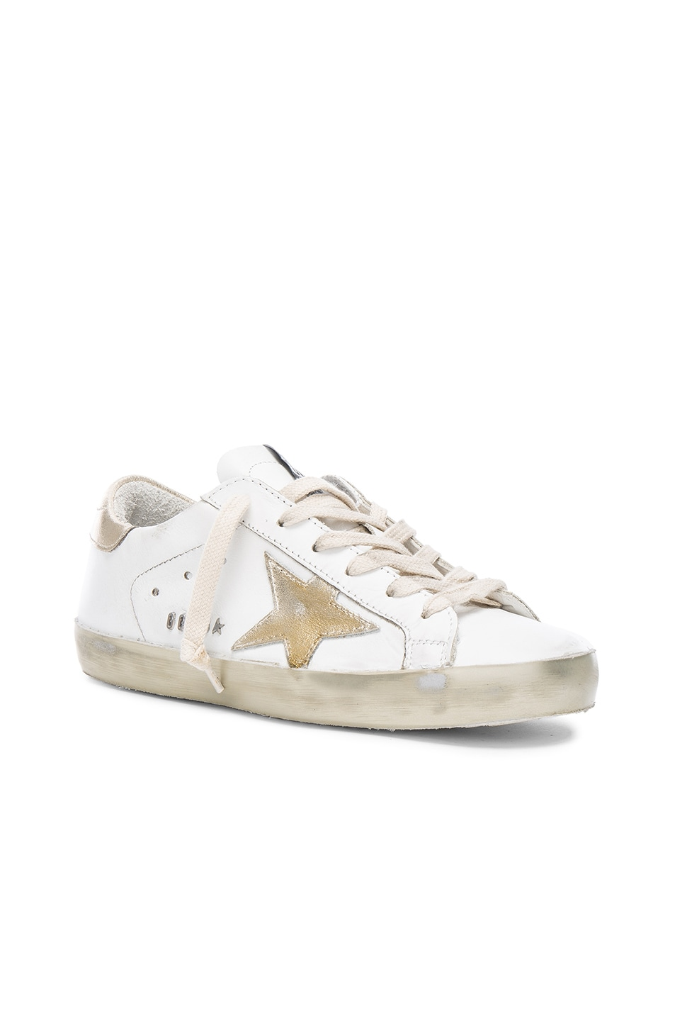 Image 2 of Golden Goose Leather Superstar Low Sneakers in Sparkle White & Gold Star