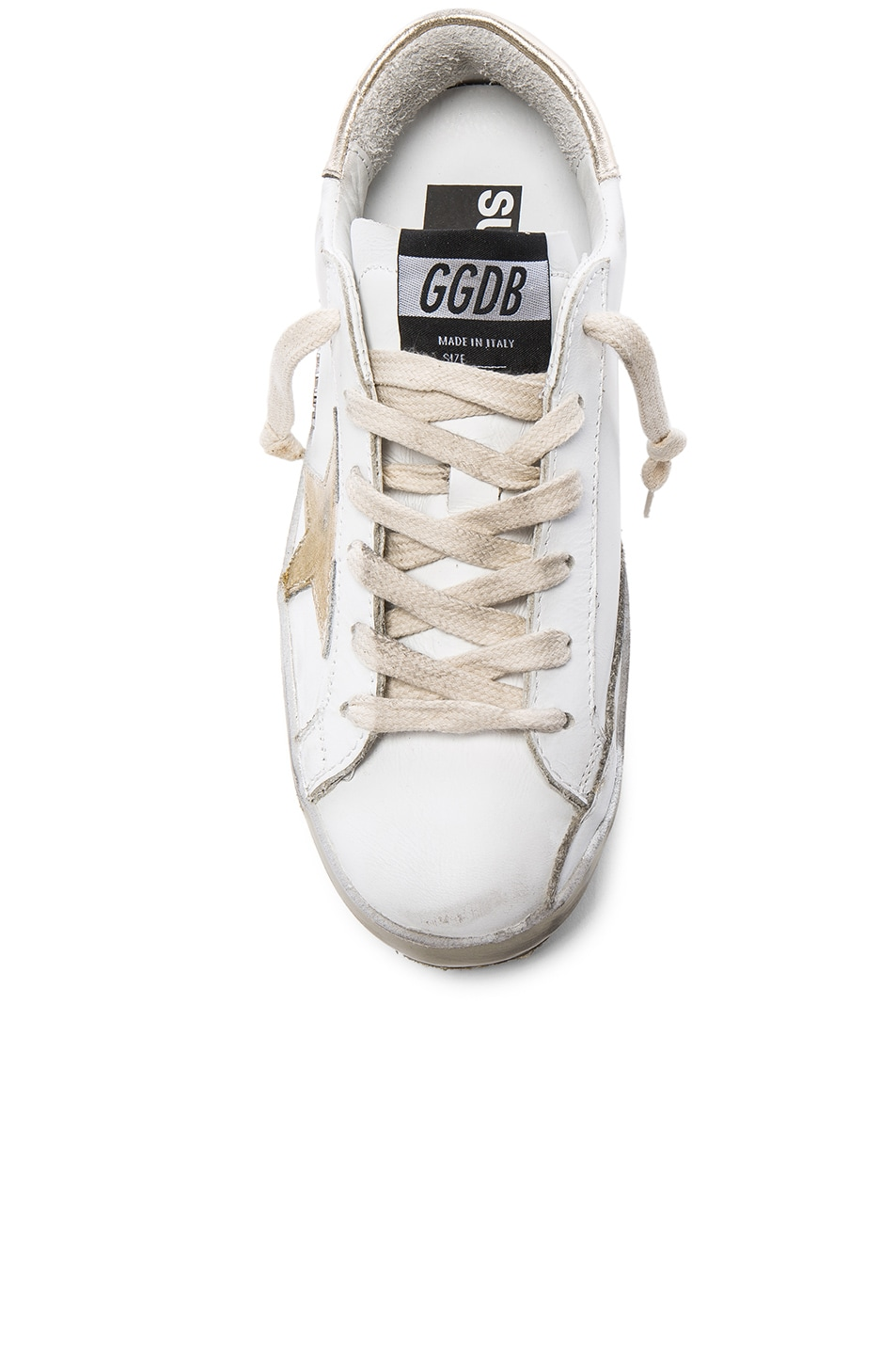 Image 4 of Golden Goose Leather Superstar Low Sneakers in Sparkle White & Gold Star