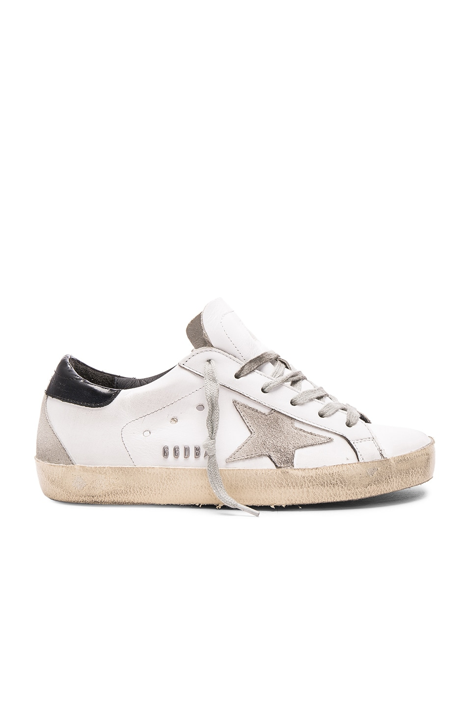 Image 1 of Golden Goose Leather Superstar Low Sneakers in White, Black & Cream Metal