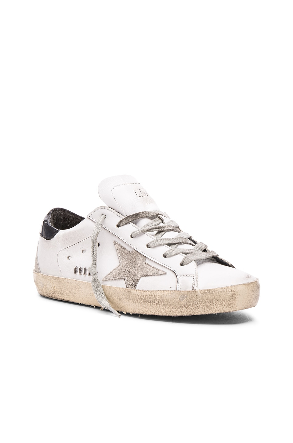 Image 2 of Golden Goose Leather Superstar Low Sneakers in White, Black & Cream Metal