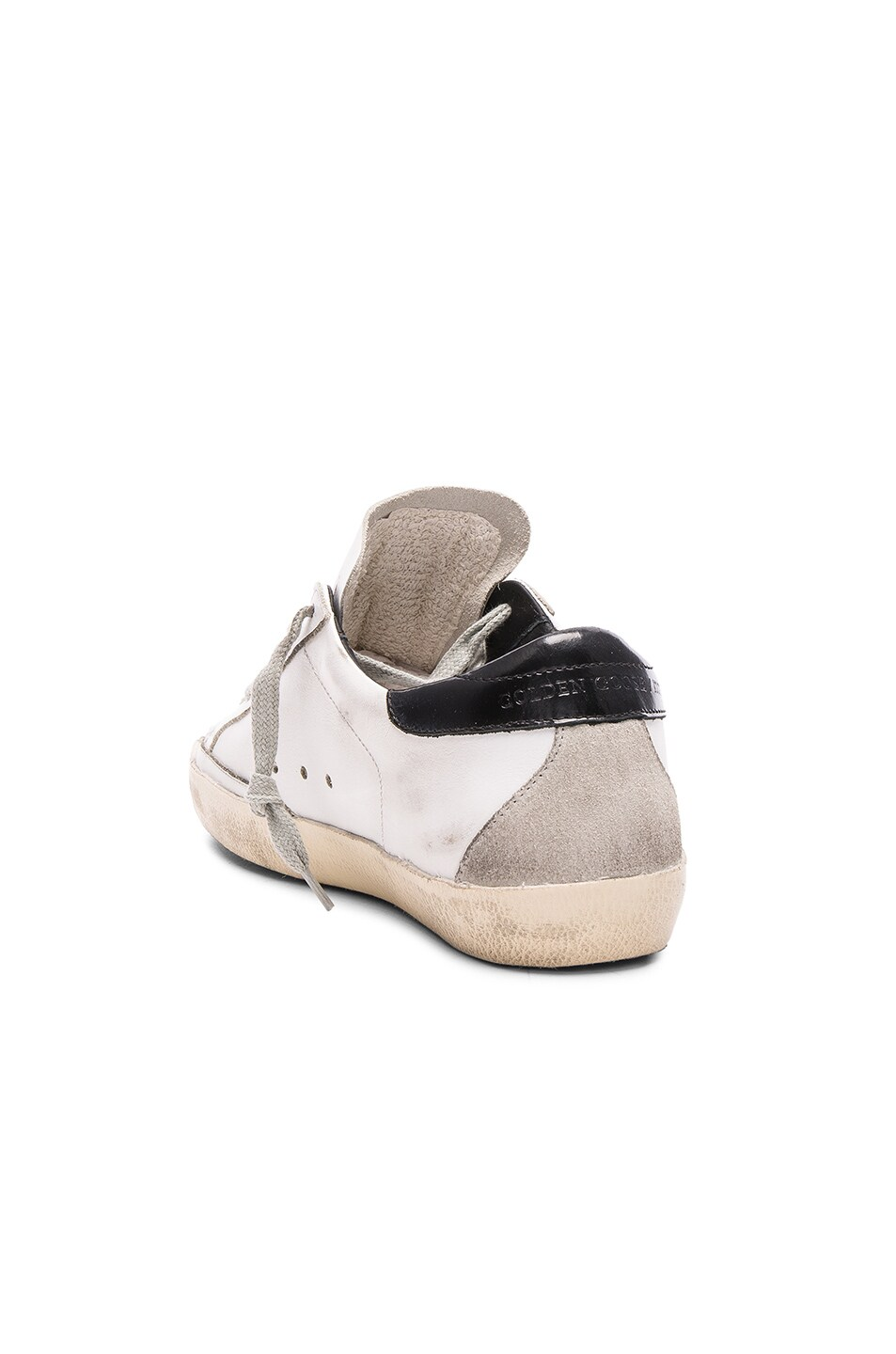 Image 3 of Golden Goose Leather Superstar Low Sneakers in White, Black & Cream Metal