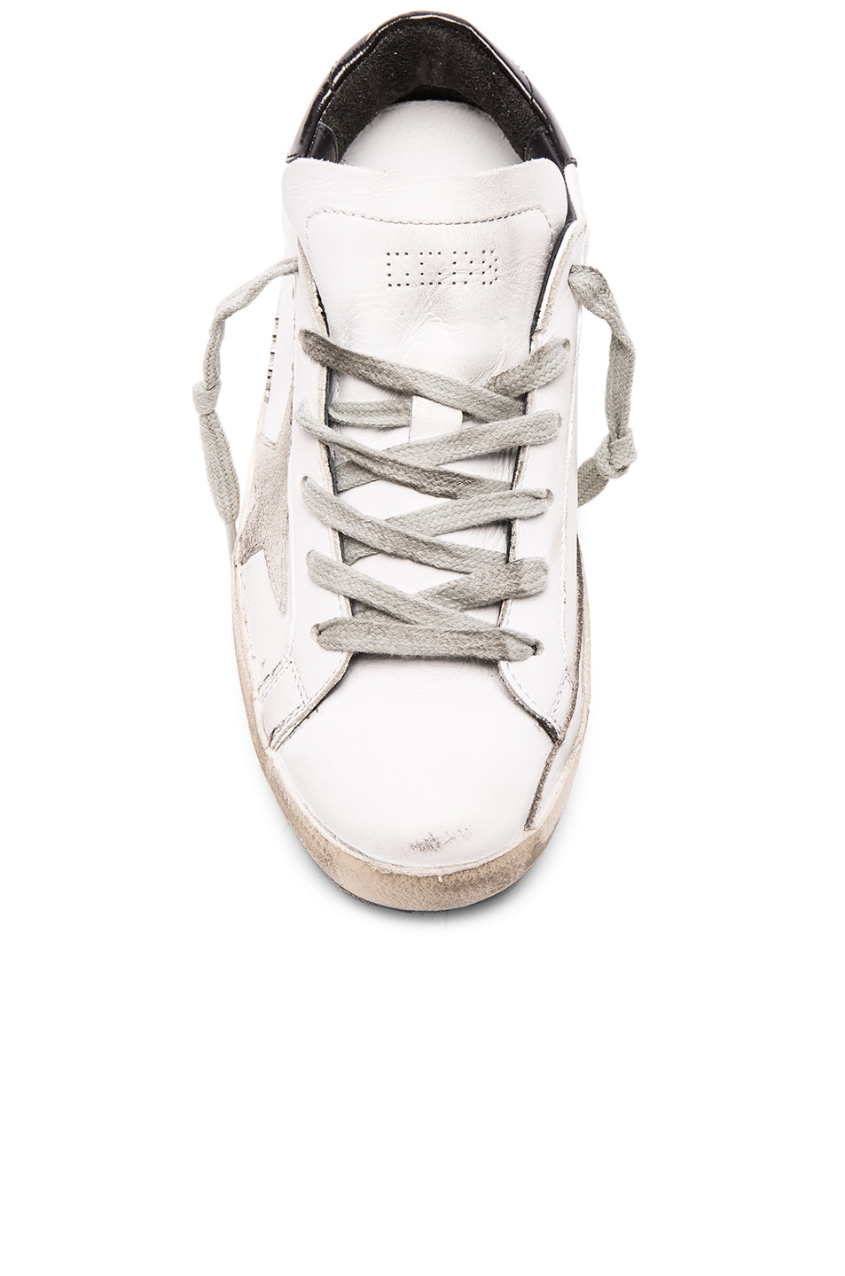 Image 4 of Golden Goose Leather Superstar Low Sneakers in White, Black & Cream Metal