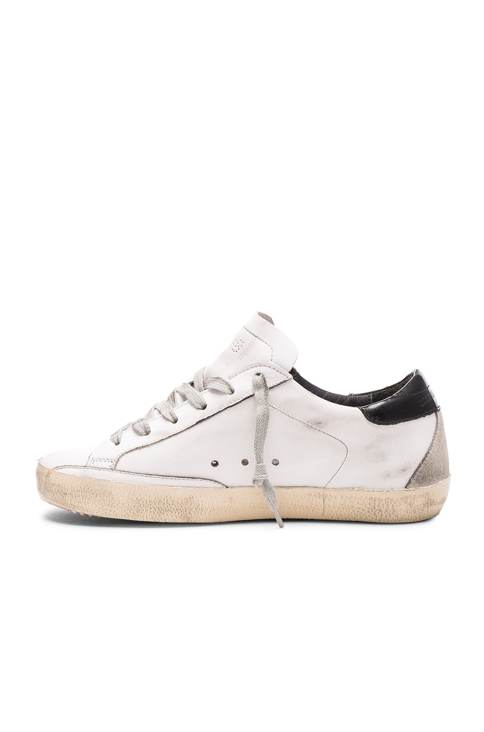 Image 5 of Golden Goose Leather Superstar Low Sneakers in White, Black & Cream Metal