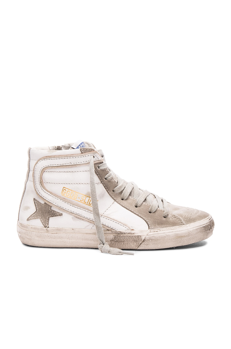 Image 1 of Golden Goose Slide Sneakers in White Leather