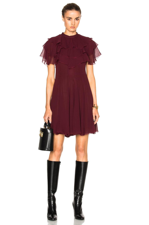 Image 1 of Giambattista Valli Ruffle Mini Dress in Bordeaux