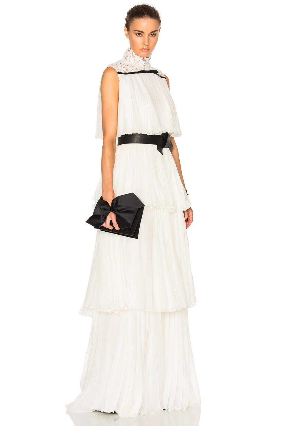 Image 1 of Giambattista Valli Pleated Georgette Tiered Gown in Ivory