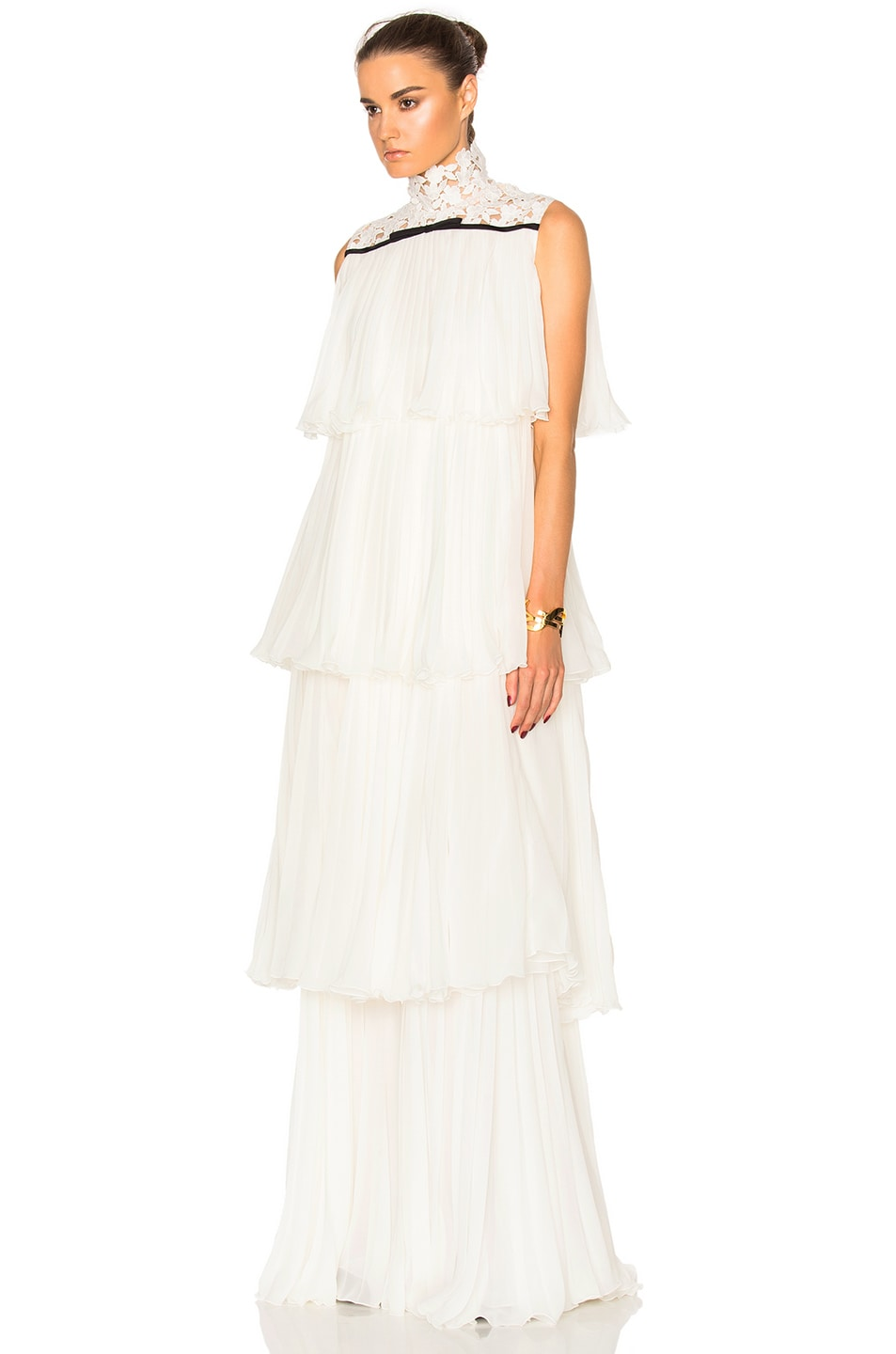 Image 2 of Giambattista Valli Pleated Georgette Tiered Gown in Ivory