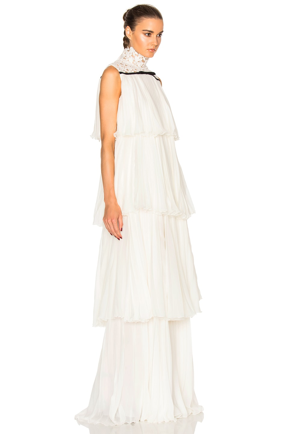 Image 3 of Giambattista Valli Pleated Georgette Tiered Gown in Ivory