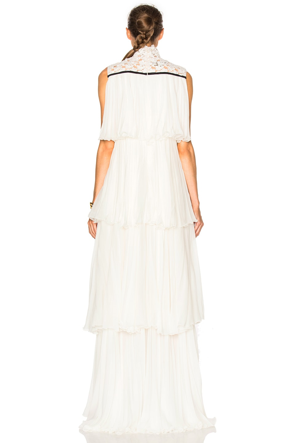 Image 4 of Giambattista Valli Pleated Georgette Tiered Gown in Ivory