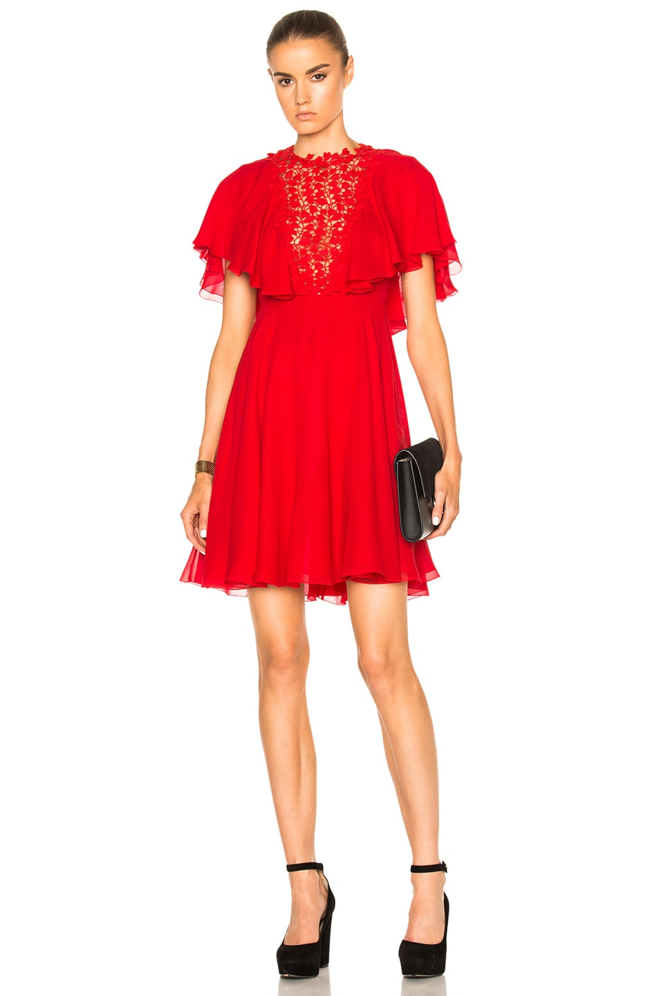 Image 1 of Giambattista Valli Georgette Lace Insert Dress in Red