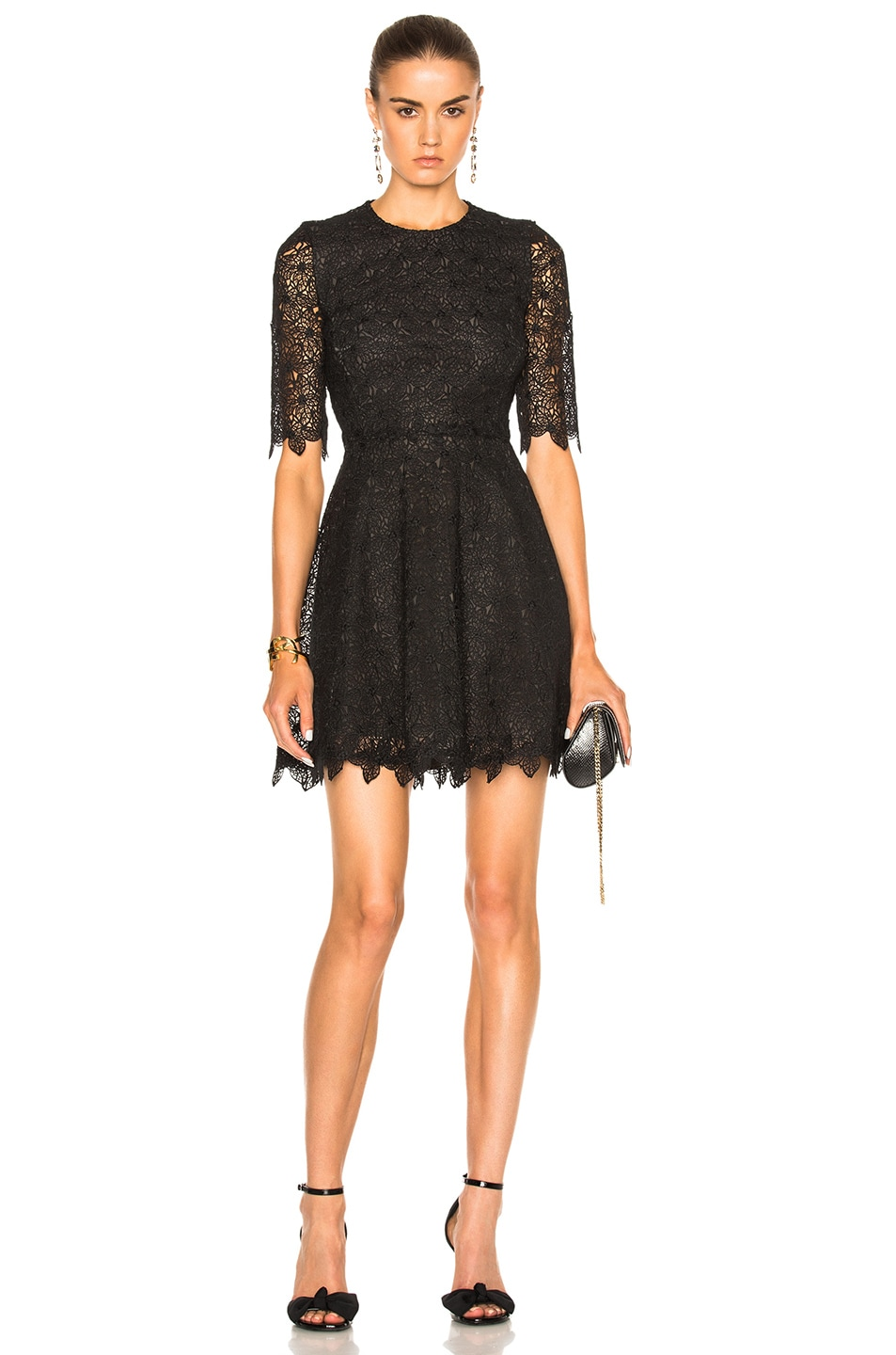 Image 1 of Giambattista Valli Floral Lace Mini Dress in Black