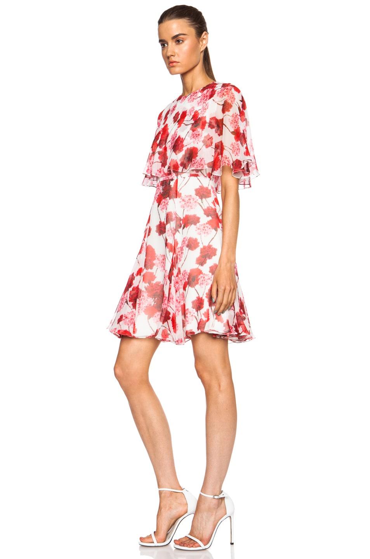 Image 2 of Giambattista Valli Tiered Silk Georgette Dress in Red Floral Print