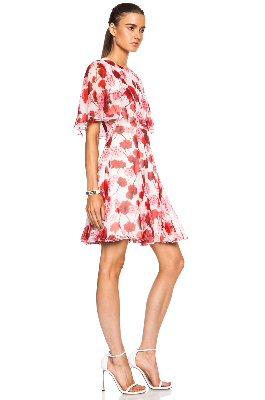 Image 3 of Giambattista Valli Tiered Silk Georgette Dress in Red Floral Print