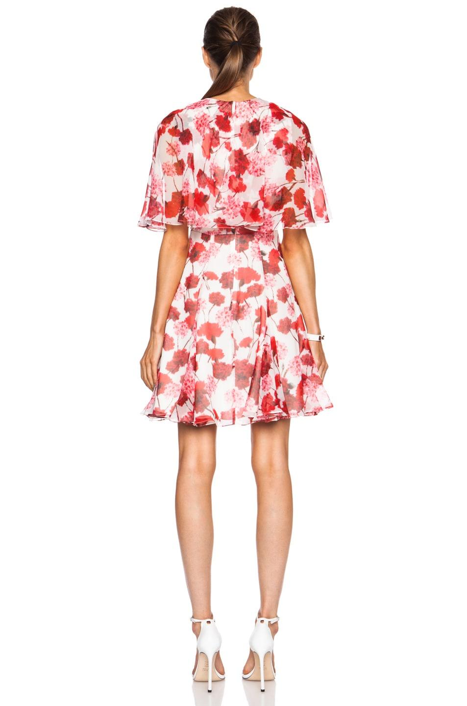 Image 4 of Giambattista Valli Tiered Silk Georgette Dress in Red Floral Print