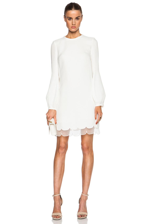 Image 1 Of Giambattista Valli Long Sleeve Viscose Cady Dress In White