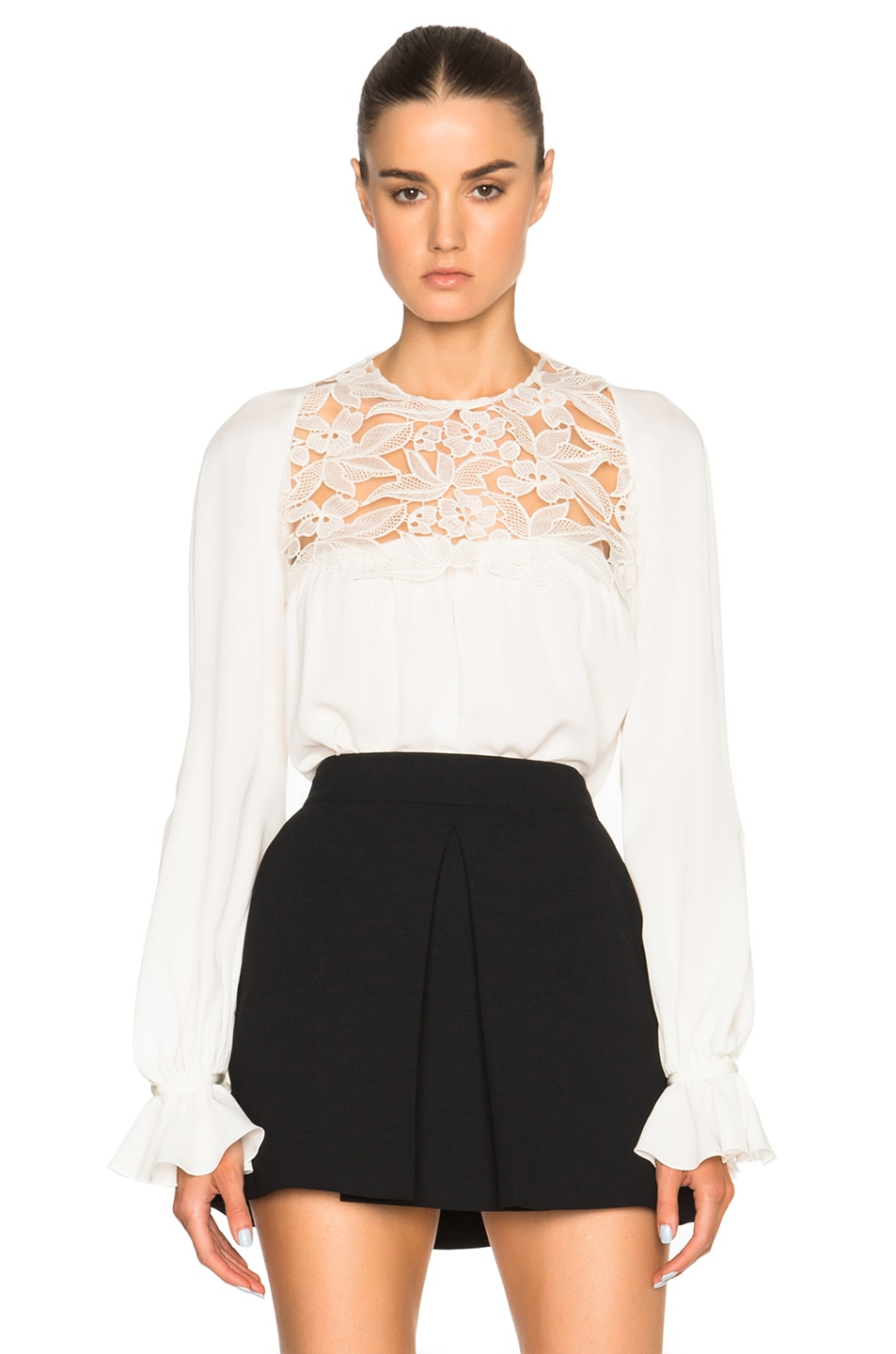 Image 1 of Giambattista Valli Lace & Sable Blouse in Ivory
