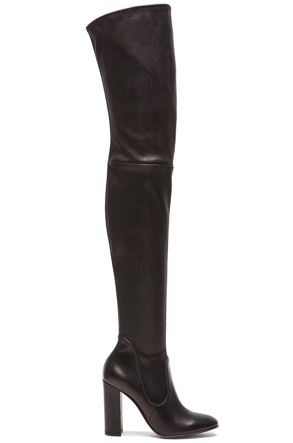 Image 1 of Gianvito Rossi Leather Thigh High Boots in Black