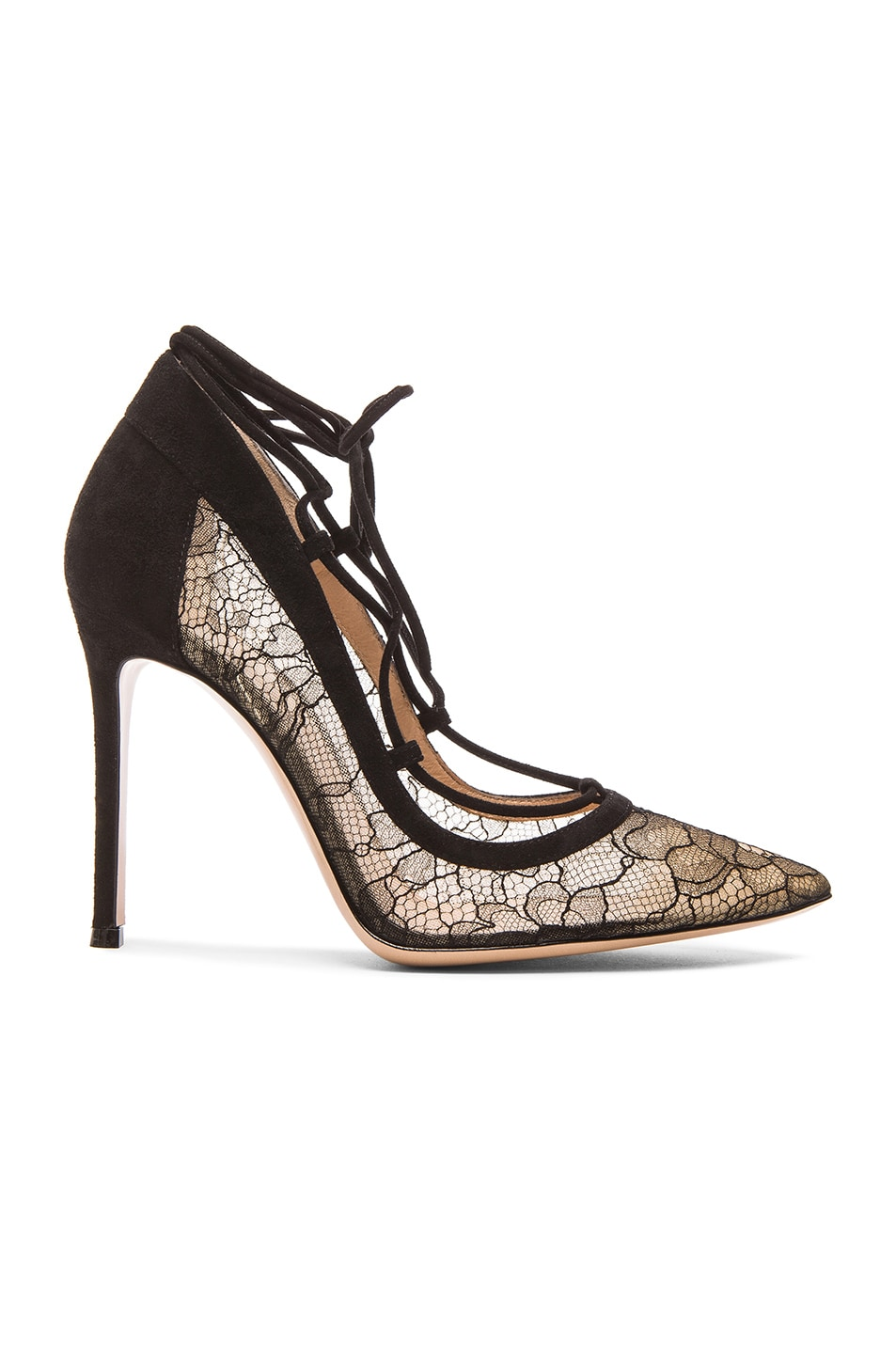 77ae1a6fc5e0 Image 1 of Gianvito Rossi Lace   Leather Femi Lace Up Pumps in Black