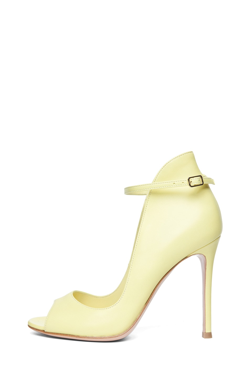 Image 1 of Gianvito Rossi Nappy Leather Open Toe Heel in Lemon