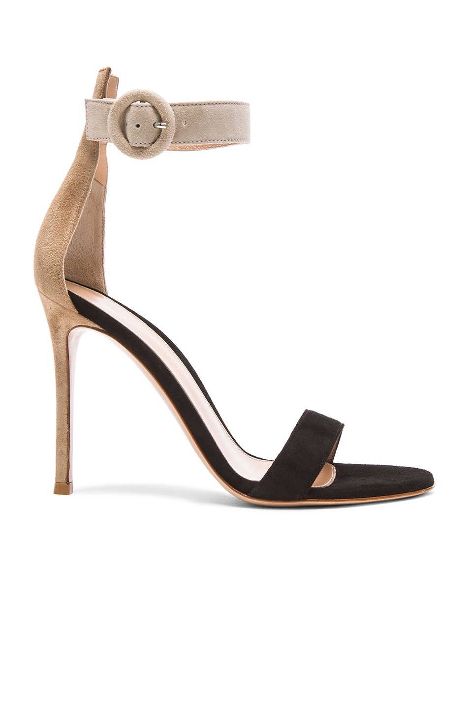 Image 1 of Gianvito Rossi Tri Color Suede Portofino Sandals in Bisque, Black & Ouzo