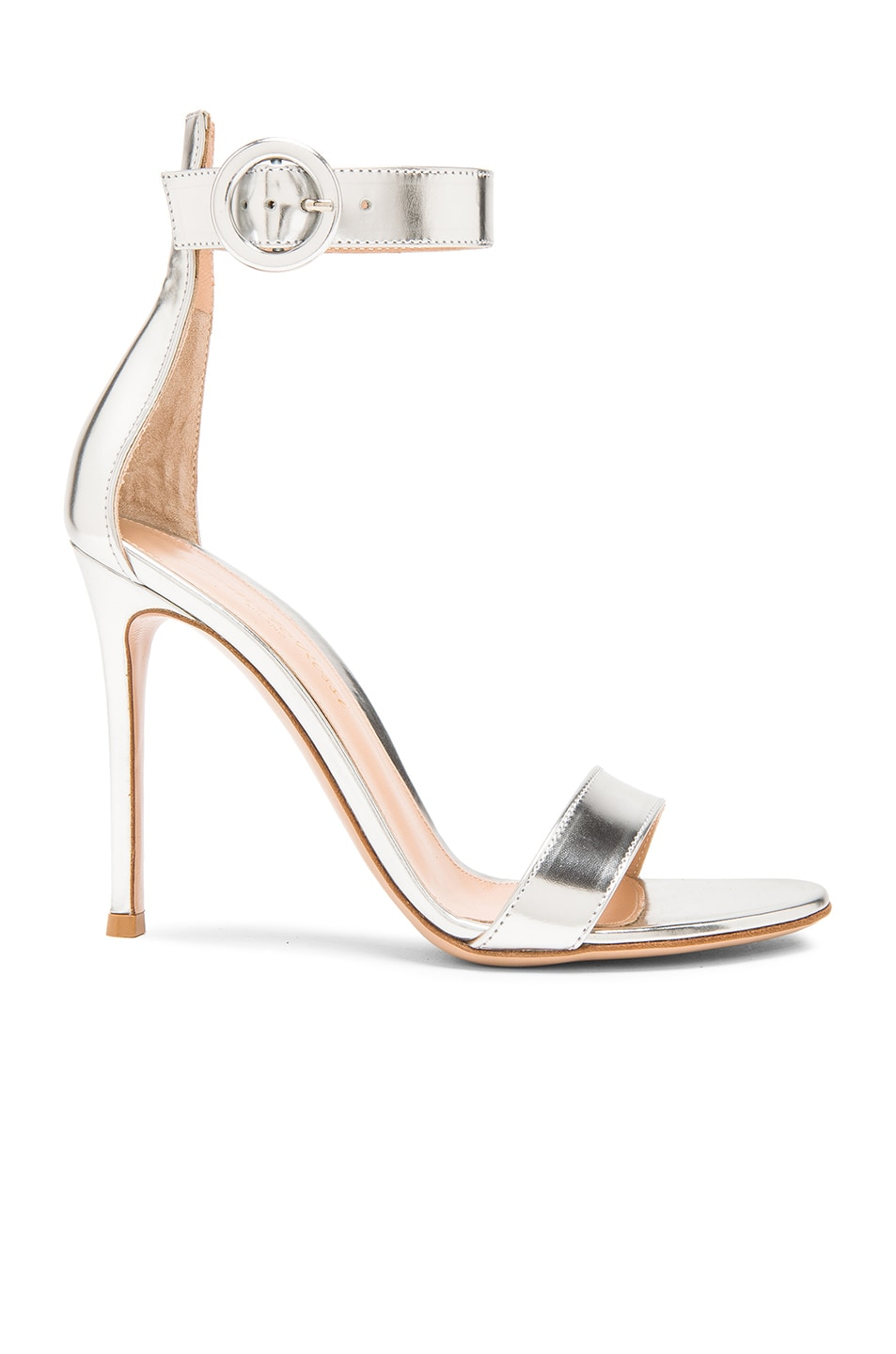 Image 1 of Gianvito Rossi Metallic Leather Portofino Heels in Silver