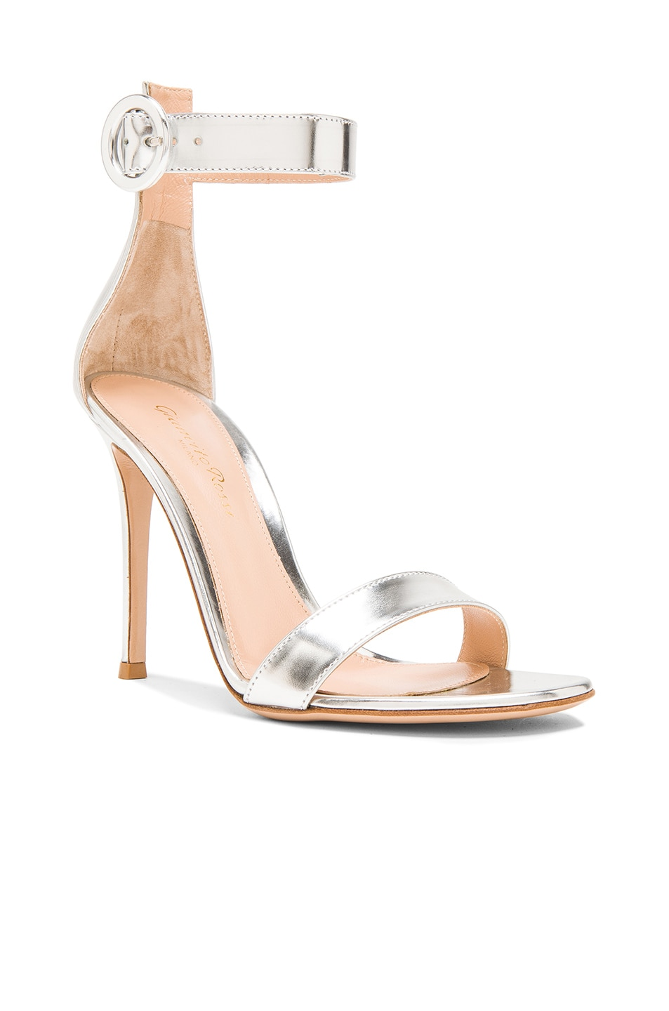 Image 2 of Gianvito Rossi Metallic Leather Portofino Heels in Silver