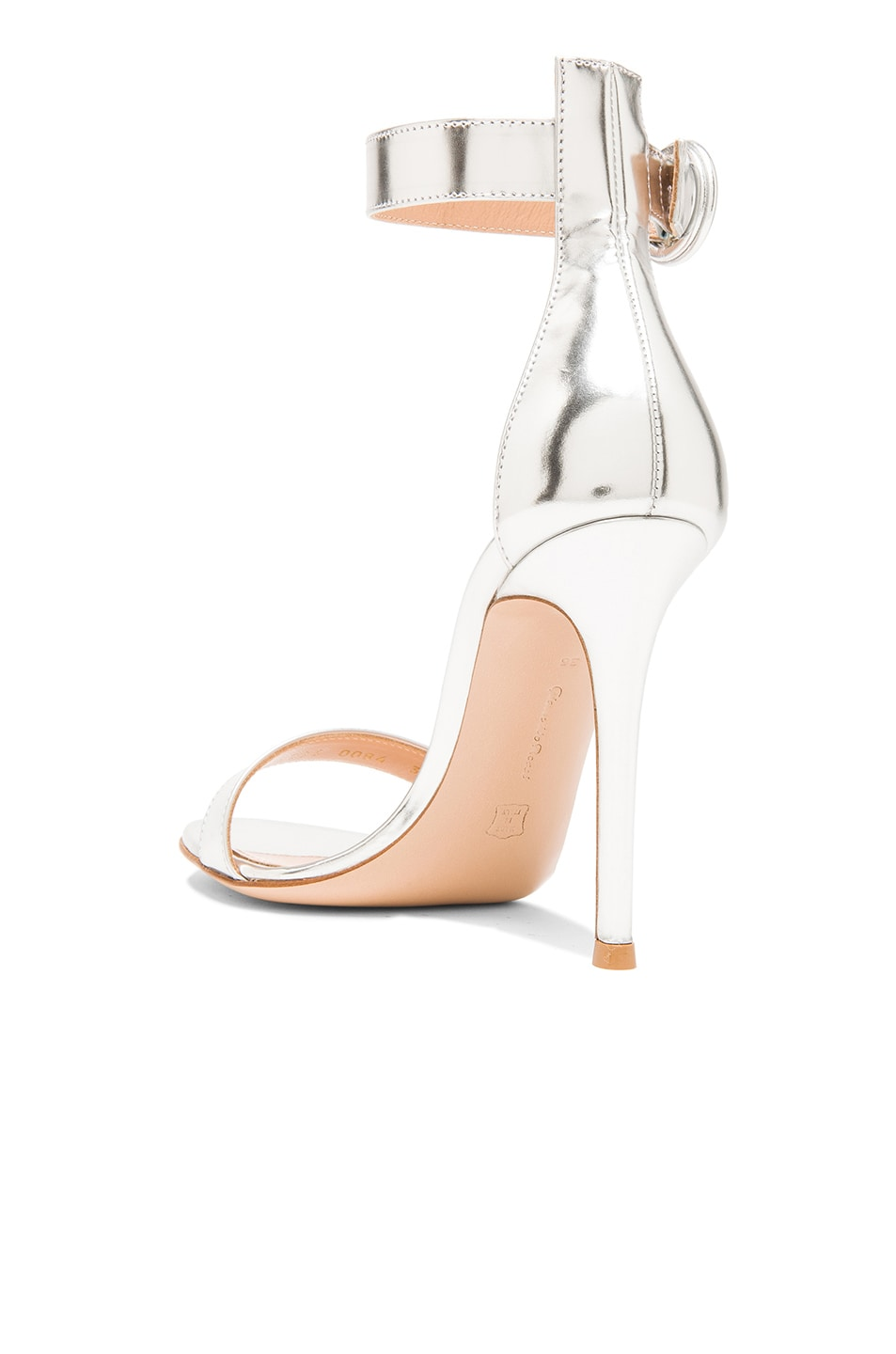 Image 3 of Gianvito Rossi Metallic Leather Portofino Heels in Silver