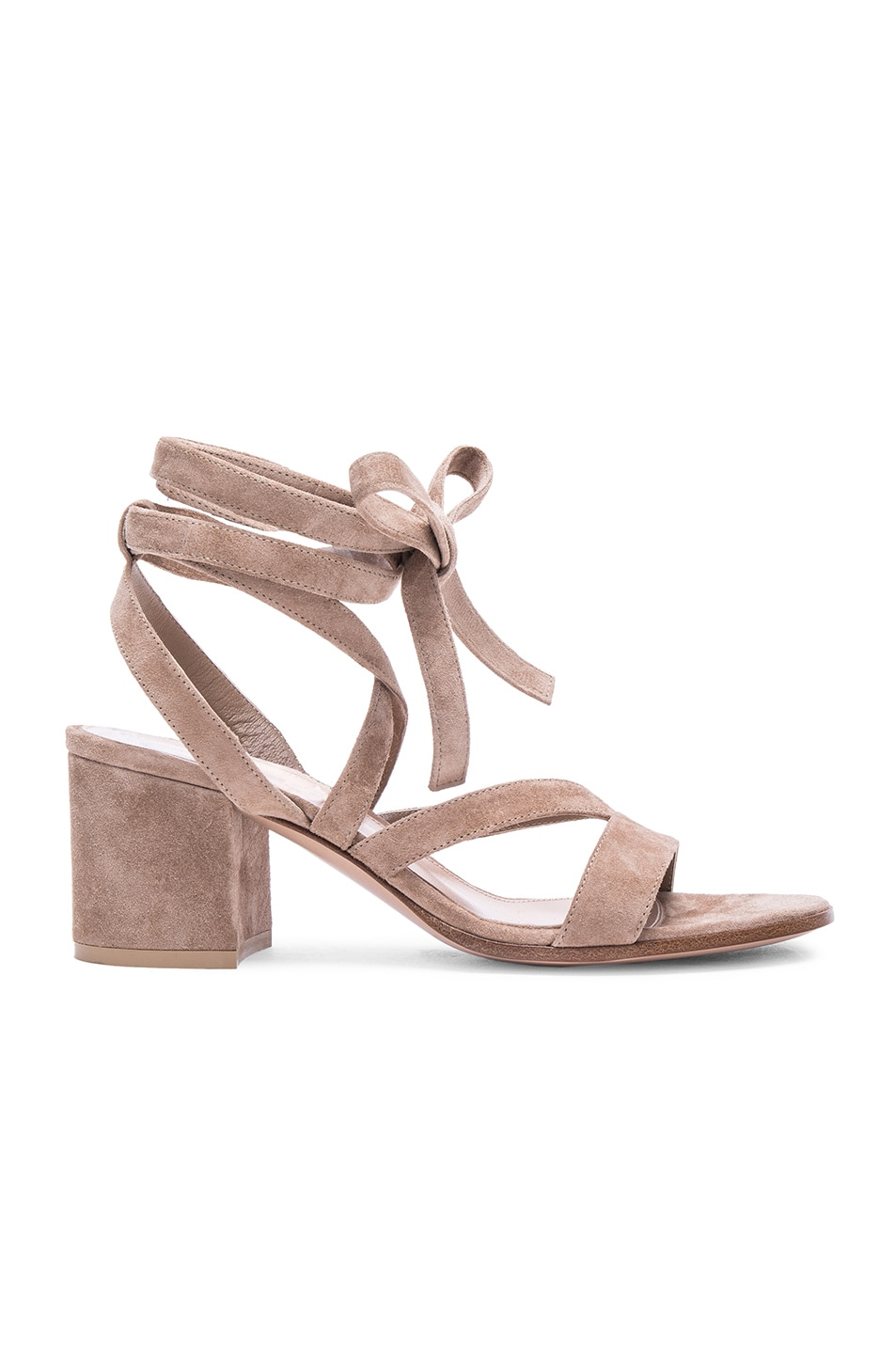 Image 1 of Gianvito Rossi Suede Janis Low Sandals in Bisque