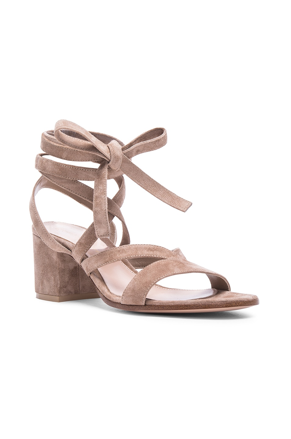 Image 2 of Gianvito Rossi Suede Janis Low Sandals in Bisque
