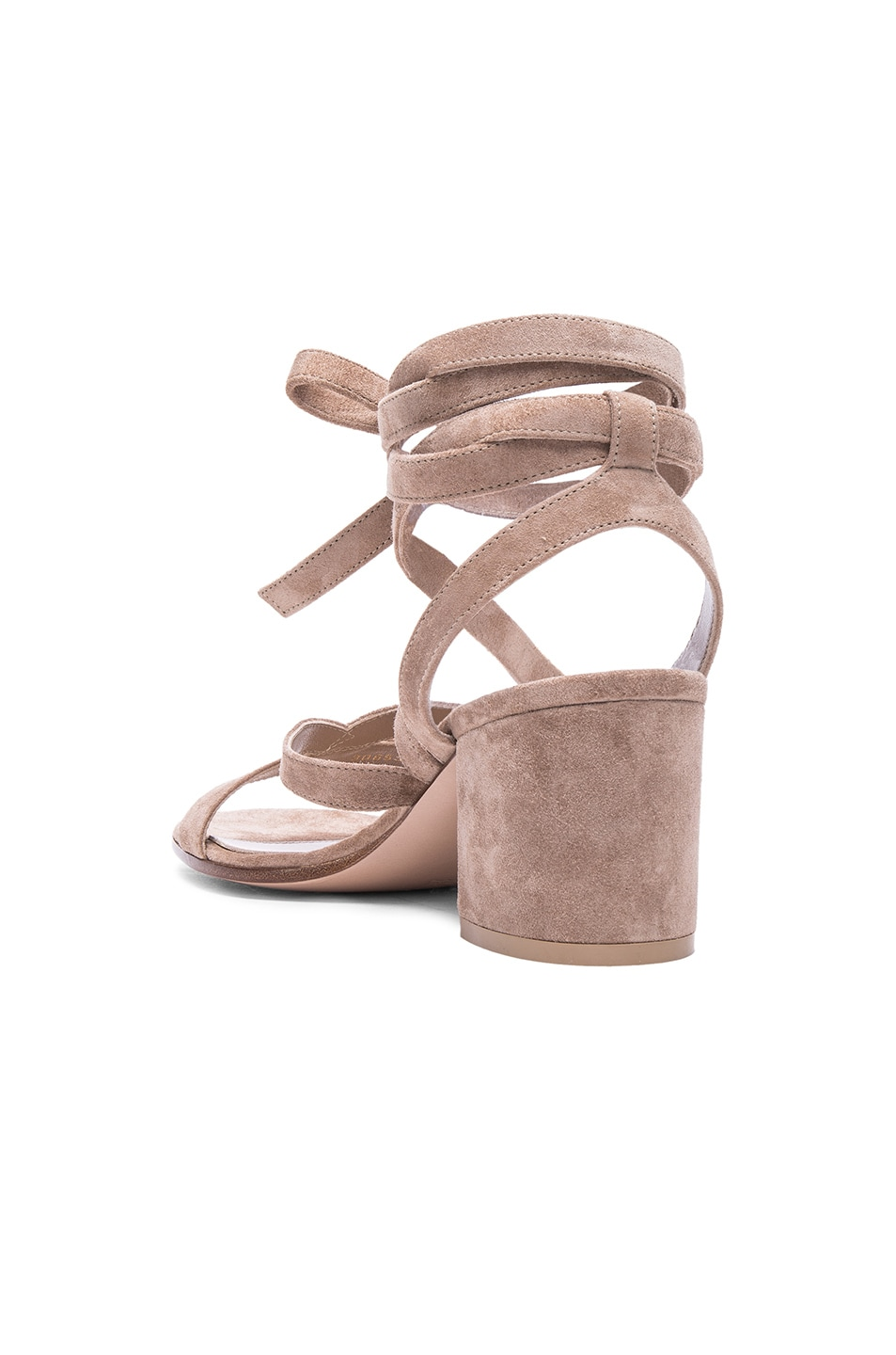Image 3 of Gianvito Rossi Suede Janis Low Sandals in Bisque