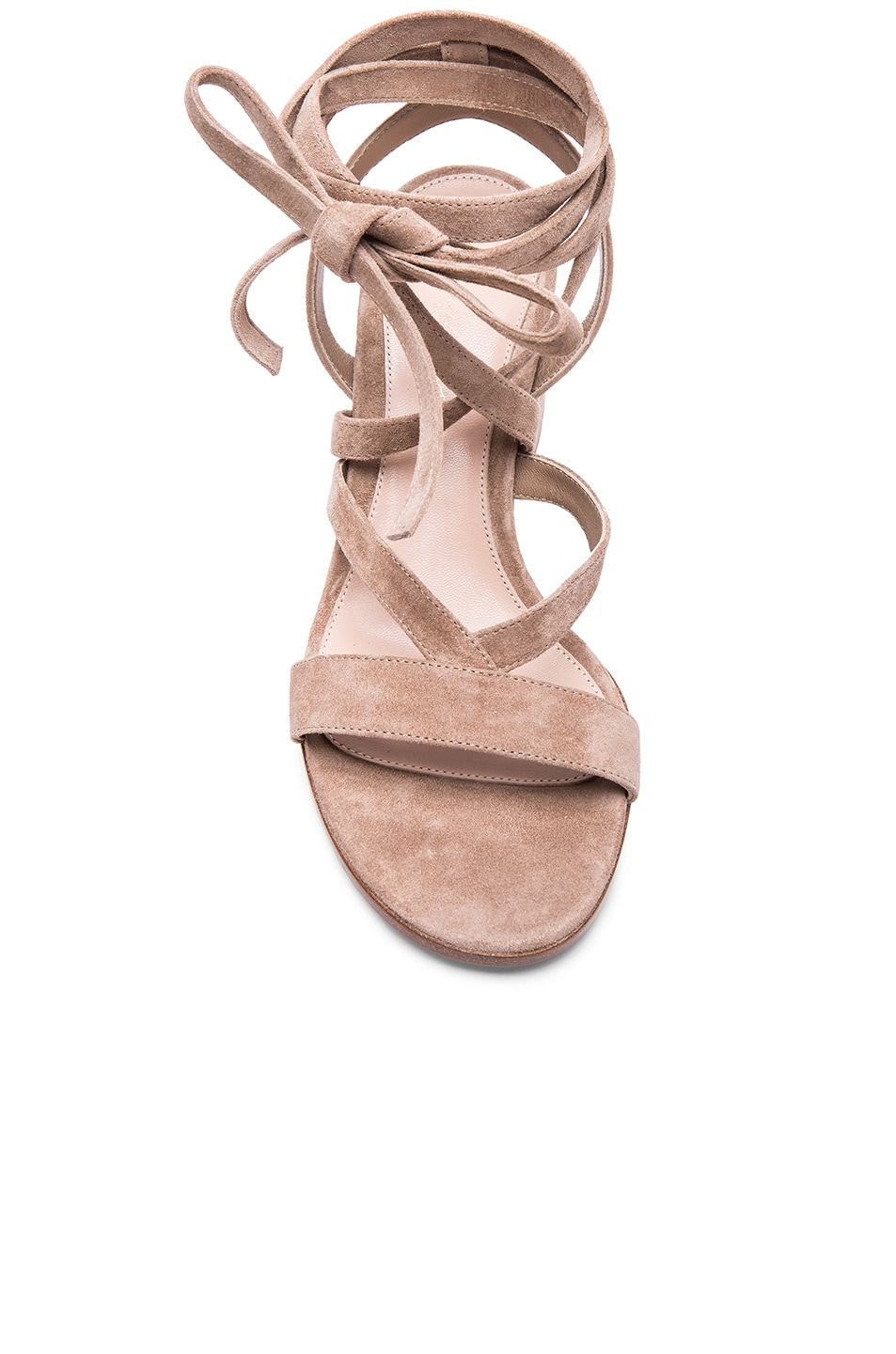 Image 4 of Gianvito Rossi Suede Janis Low Sandals in Bisque