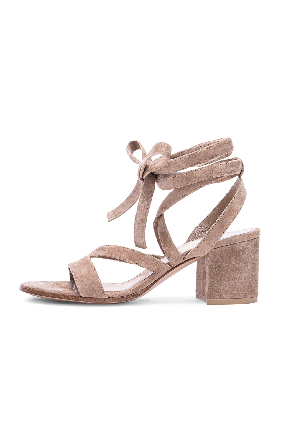 Image 5 of Gianvito Rossi Suede Janis Low Sandals in Bisque