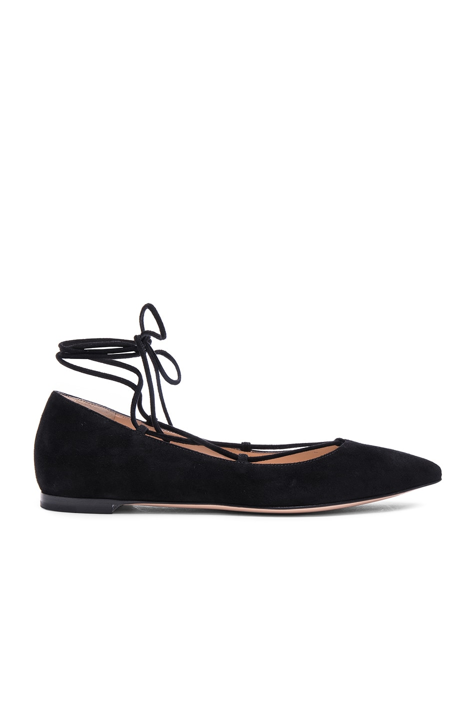 Image 1 of Gianvito Rossi Suede Femi Flats in Black