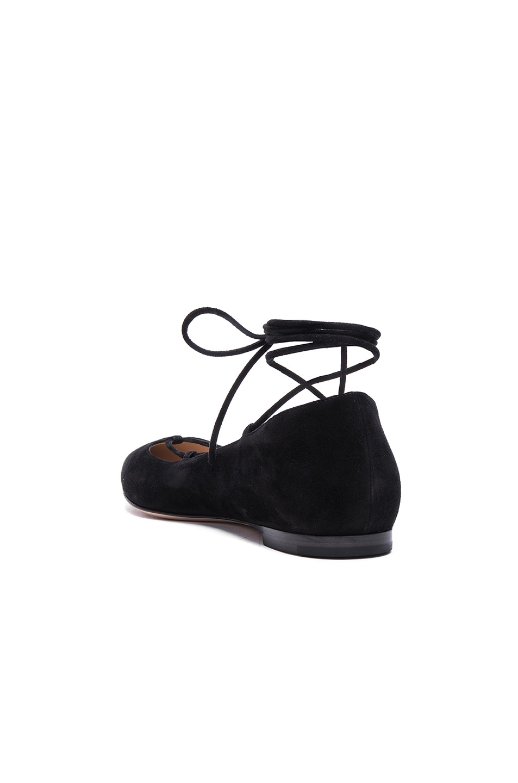 Image 3 of Gianvito Rossi Suede Femi Flats in Black