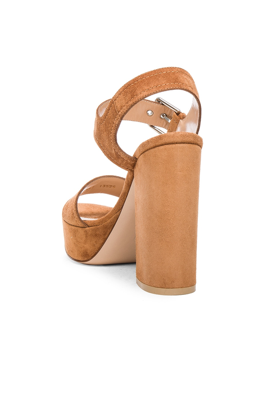 Image 3 of Gianvito Rossi Suede Gina Platform Sandals in Luggage