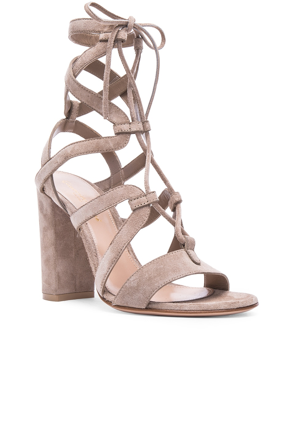 Image 2 of Gianvito Rossi Suede Lace Up Heels in Bisque