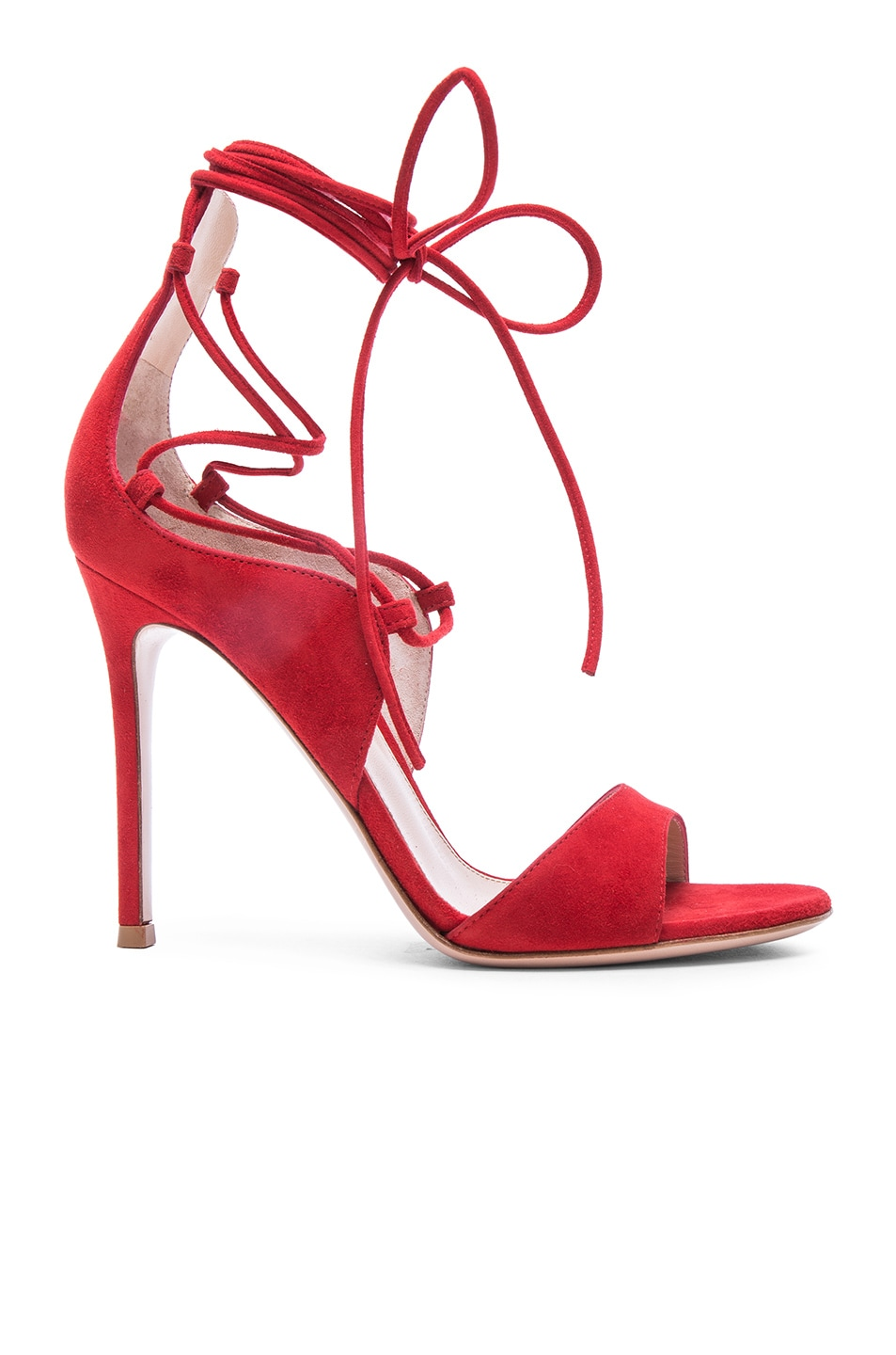 Image 1 of Gianvito Rossi Suede Lace Up Heels in Tabasco Red