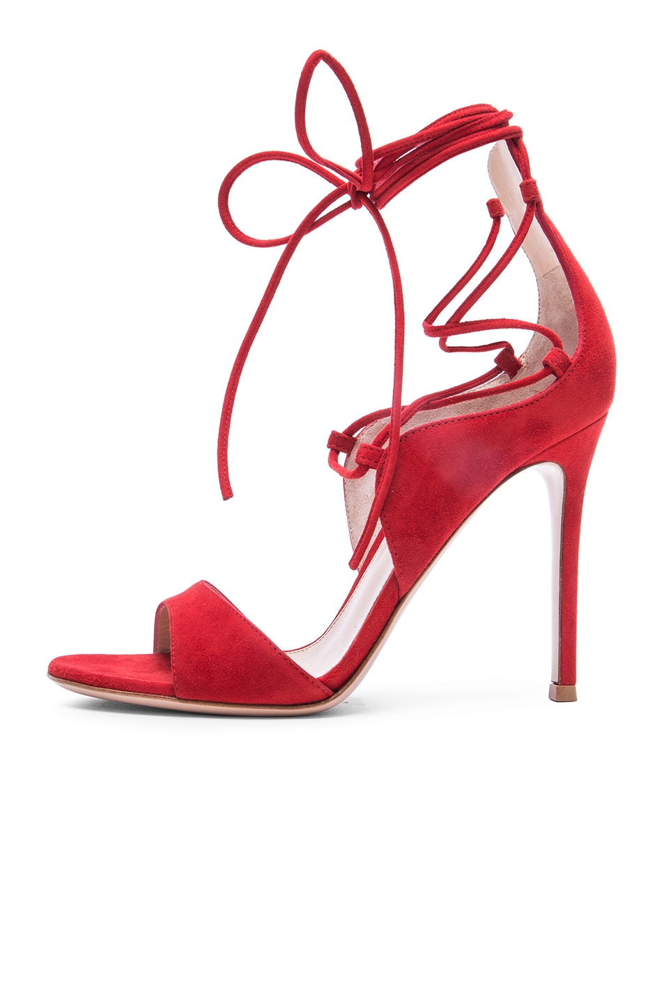 Image 5 of Gianvito Rossi Suede Lace Up Heels in Tabasco Red