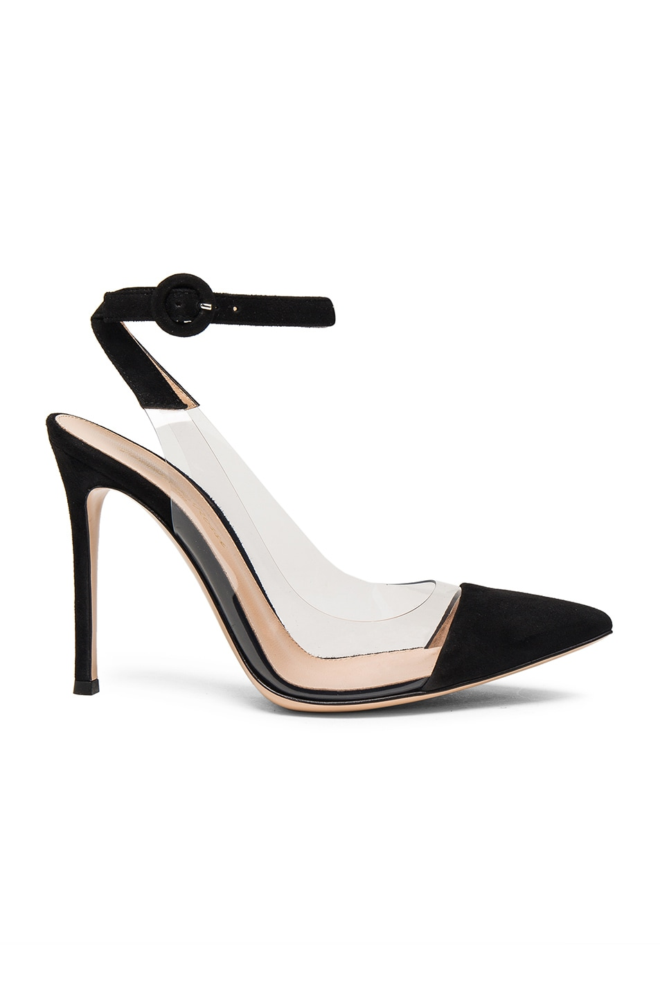 Image 1 of Gianvito Rossi Suede Plexi Slingback Pumps in Black & Transparent