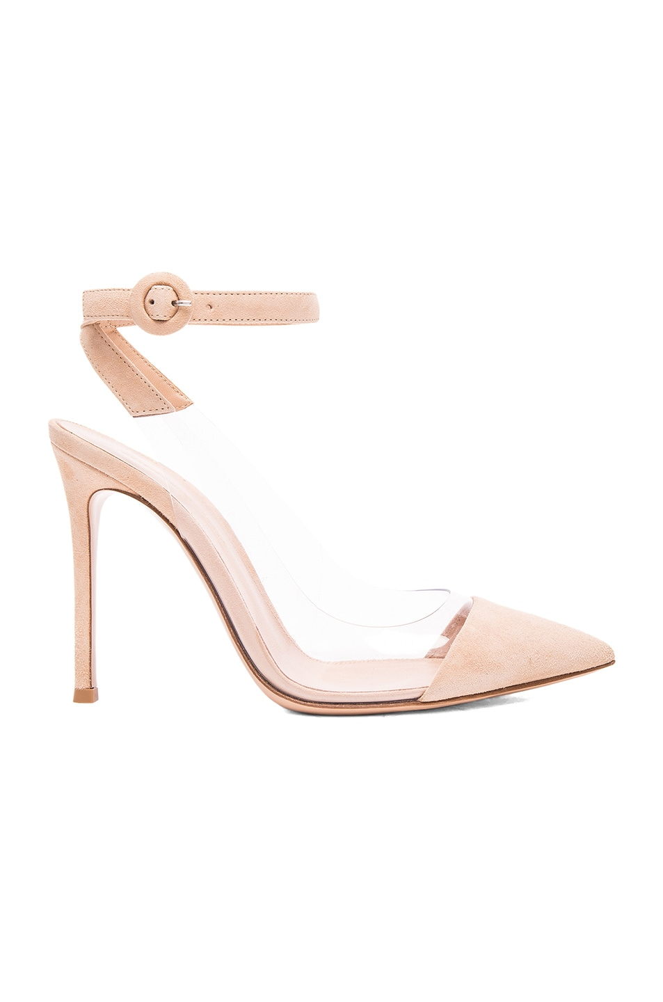 Image 1 of Gianvito Rossi Suede Plexi Slingback Pumps in Nude & Transparent