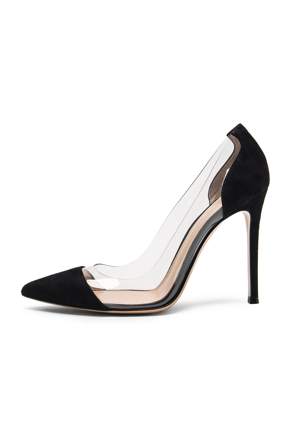 Image 5 of Gianvito Rossi Suede Plexi Pumps in Black